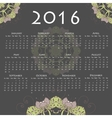 Calendar with round mandala for 2016 on grey vector image vector image
