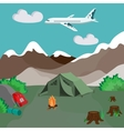 Camping by the mountains with campfire and tent vector image