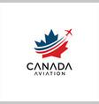 canadian maple aviation logo aircraft design vector image vector image