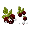 Cartoon blackberry berries fruits with leaves vector image vector image