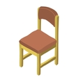 cartoon isometric wood chair icon vector image vector image