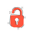 cartoon lock icon in comic style padlock locker vector image vector image