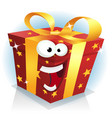 christmas and birthday gift box character vector image vector image