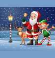 christmas background with santa claus deer and el vector image vector image