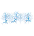 christmas with forest and reindeer vector image vector image