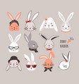collection of funny bunnies set of cute rabbits vector image