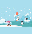 cute penguin characters set withnorth pole vector image