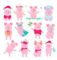 cute piggy in costumes superhero unicorn santa vector image vector image