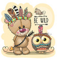 cute tribal teddy bear and owl with feathers vector image