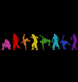 dancing street dance silhouettes in urban style vector image vector image