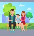 family mother father and son sit on bench in park vector image