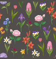 floral seamless pattern with field and garden vector image