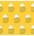 Foamy beer mug linear pattern vector image vector image