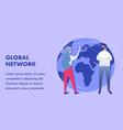 global communication network flat banner template vector image vector image