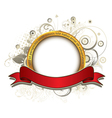 gold label with floral vector image vector image