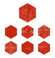 grunge hexagon red hexagons stamp isolated on vector image vector image