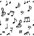 hand drawn music notes seamless pattern vector image