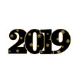 happy new year card black number 2019 with gold vector image vector image
