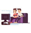 happy young couple watch tv vector image vector image