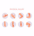 human body physical injury round flat set open vector image
