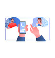 human hands using mobile app people discussing vector image vector image