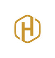 initial h hexagon logo vector image vector image