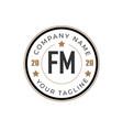 initial letter fm elegance logo design template vector image vector image