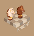 isometric cartoon chess pieces knight fla vector image