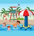 kids at swimming pool vector image vector image