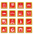 logistic icons set red vector image vector image
