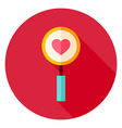 Love Search Magnifying Glass with Heart Circle vector image vector image