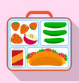 lunch container bag icon flat style vector image vector image