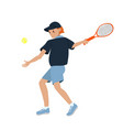 male tennis player isolated on a white background vector image vector image