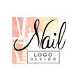 nail logo design design element for nail bar vector image vector image