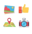 Pictures camera thumbs up map vector image