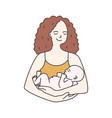 portrait of happy smiling mother holding infant vector image vector image