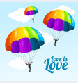 realistic detailed 3d parachute and people lgbt vector image