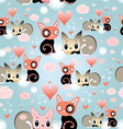 seamless pattern love cats vector image vector image