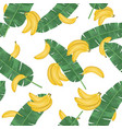 seamless pattern with banana leaves and banana vector image vector image