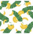 Seamless pattern with banana leaves and banana
