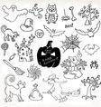 Sketch doodle Halloween icon set Hand draw vector image vector image