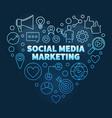social media marketing blue outline heart vector image