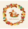 squirrels surrounded with autumn leaves branches vector image vector image
