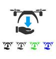 unload drone flat icon vector image vector image