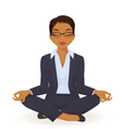 Young business woman in yoga lotus pose vector image vector image
