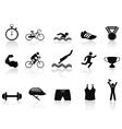 triathlon sport icon set vector image