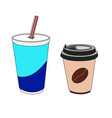 a coffee cup and glass with soda isolated on vector image vector image