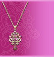 a vintage jewelry gold pendant on a chain with vector image