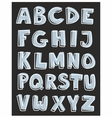 Alphabet letters hand drawn set isolated on black vector image