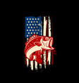 american flag with bass fish bass fishing vector image